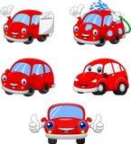 Collection rouge drôle de voitures de bande dessinée illustration de vecteur