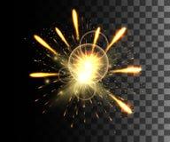 Collection rougeoyante Feu d'artifice d'or, effets de la lumière d'isolement sur le fond transparent Fusée de lentille de lumière illustration stock