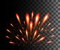 Collection rougeoyante Feu d'artifice rouge, effets de la lumière d'isolement sur le fond transparent Fusée de lentille de lumièr Photos libres de droits