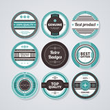 Collection of 9 round badges in retro style. EPS10. Stock Photos
