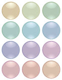 Collection of round buttons. Collection of round glass buttons of pastel tones. Vector illustration Royalty Free Stock Image