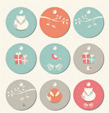 Collection of 9 round Christmas and New Year gift tags with foxes Royalty Free Stock Photography
