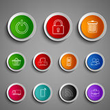 Collection round color buttons icons design template Royalty Free Stock Photography