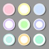 Backgrounds with polka dot and frills. Collection of round cute frames. It are filled with a pattern in polka dots and also decorated with frills. Great for stock illustration
