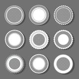 Backgrounds with polka dot and frills. Collection of round cute frames. It are filled with a pattern in polka dots and also decorated with frills. Great for vector illustration