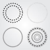 Collection  round decorative frames and labels. Symmetric geometric shapes and natural elements Stock Photo