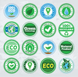 Collection of round eco badges Stock Photo