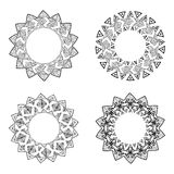 Collection of round elements for design in ethnic style Stock Photos