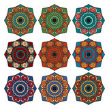 Collection of round ethnic patterns Royalty Free Stock Images