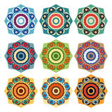Collection of round ethnic patterns Stock Photos