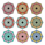 Collection of round ethnic patterns Royalty Free Stock Photos