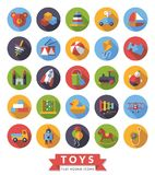 Toys flat design round icons vector set. Collection of round flat design long shadow children's toys icons Royalty Free Stock Images