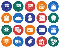 Finance and banking icons set. Collection of round icons: Finance and banking Stock Image