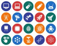 Hi-Tech icons set. Collection of round icons: High technology Stock Photos