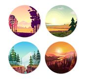 Collection of round illustrations on nature, city and sport theme. Use as logo, emblem, icon or your design work Stock Image