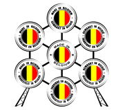 "Collection of round labels ""Made in Belgium"", different languages, Atomium icon Stock Photography"
