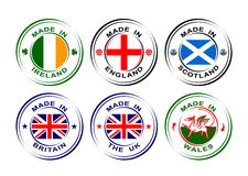 "Collection of round labels ""Made in United Kingdom"" with flags Royalty Free Stock Photos"
