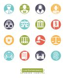 Law enforcement round color icon set. Collection of round law enforcement icons. Criminal justice symbols, negative in color circles Royalty Free Stock Photography