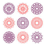 Collection of round ornaments Royalty Free Stock Images