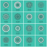 Collection of 16 round ornaments. Royalty Free Stock Photo