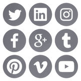 Collection of round popular social media gray logos. Kiev, Ukraine - Febraury 28, 2017: Collection of round popular social media gray logos printed on paper Stock Image