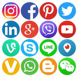 Collection of round popular social media logos vector illustration