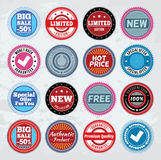 Collection of round promotion badges. Colorful round promo badges. EPS8 Stock Illustration