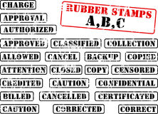 Collection of rubber stamp ABC. Collection of rubber stamps with words beginning with letter A, B, C. See other rubber stamp collections in my portfolio vector illustration