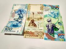 Collection 100 rubles stock photography