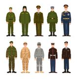 Collection of Russian and American military people or personnel dressed in various uniform. Bundle of soldiers of Russia. And USA. Set of flat cartoon Royalty Free Stock Photo
