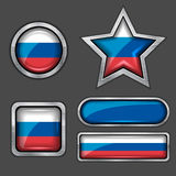 Collection of russian flag icons Royalty Free Stock Photo
