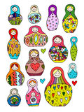 Collection of russian nesting dolls, Matryoshka for your design Stock Photo