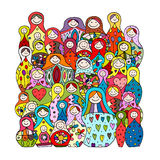Collection of russian nesting dolls, Matryoshka for your design Royalty Free Stock Image