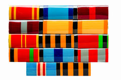 Collection Of Russian (Soviet) Medal Ribbons For Participation I Stock Photo