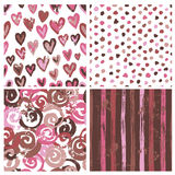 Collection of rustic seamless patterns stock illustration