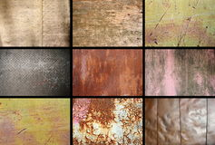 Collection of rusty metallic surfaces Royalty Free Stock Photos