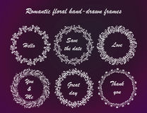 Collection of rwhite froral hand-drown frames. Stock Image