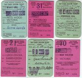 Collection of 1960`s british railway tickets Royalty Free Stock Photo