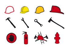 Collection safety icons. Set of icons for firefighters and craftsmen. Tools and protective equipment for safe work. Set of icons. Set protective elements. Set Stock Image