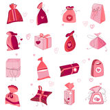 Collection with Saint Valentine's gift boxes  on white. Pink and red colors. Stock Photos