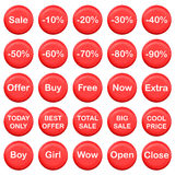 Collection of sale buttons. Red and shiny collection of sale buttons Royalty Free Stock Photo