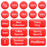 Collection of sale buttons. Red and shiny collection of sale buttons Royalty Free Stock Photos