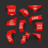 Collection of sale discount origami styled website ribbons Stock Photos