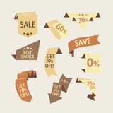 Collection of sale discount origami styled website ribbons Royalty Free Stock Photography