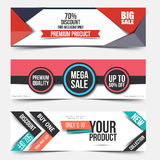 Collection of Sale Discount Styled Banners Royalty Free Stock Photos