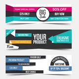 Collection of Sale Discount Styled Banners Royalty Free Stock Photo