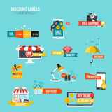 Collection of Sale Discount Styled  Banners.Flat style. Vector Stock Photos