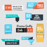 Collection of Sale Discount Styled origami Banners Royalty Free Stock Photography