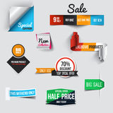 Collection of Sale Discount Styled origami Banners. Vector Stock Photos