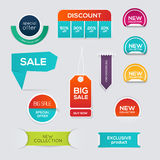 Collection of Sale Discount Styled origami Banners. Stock Photos